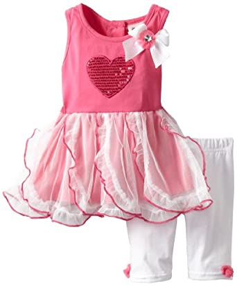 Little Lass Baby-Girls Infant 2 Piece Dress Set with Heart, Fuchsia, 24 Months