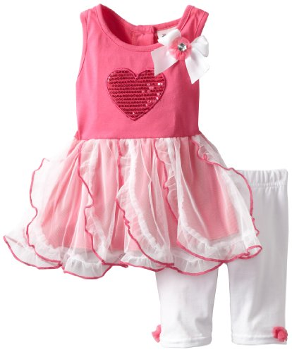 41KXS8Lj66L Little Lass Baby Girls Infant 2 Piece Dress Set with Heart, Fuchsia, 24 Months