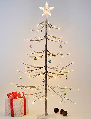 Lightshare Fir Snow Tree 112L LED with 10L LED Star Treetop Light, 4 Feet, Warm White