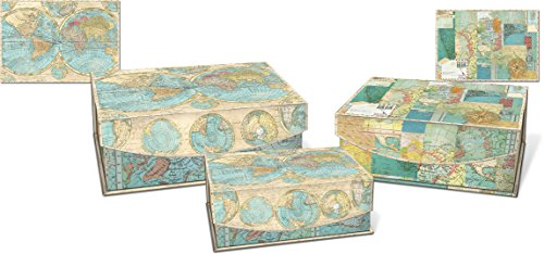 Punch Studio Medium Nesting Flip Top Boxes 3-Piece Set (World Of Atlas)