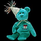TY December Birthday Bear with Hat Beanie Baby