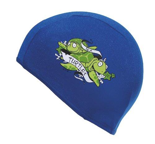 Fashy Kids Childs Fabric Swimming Hat Cap With Cartoon Motif Blue, Turquoise, Yellow, Orange