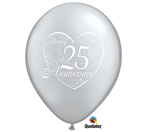 "Happy 25th Anniversary Silver 11"" Latex Balloon Pk Of 12"