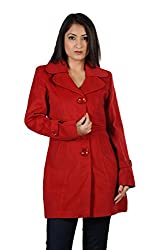 JAMES SCOT-Full Sleeves Solid Red Colour Woolen Winter Wear Long Coat For Womens