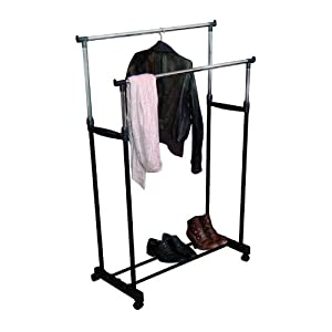 improved quality strong double garment clothes hanging. Black Bedroom Furniture Sets. Home Design Ideas