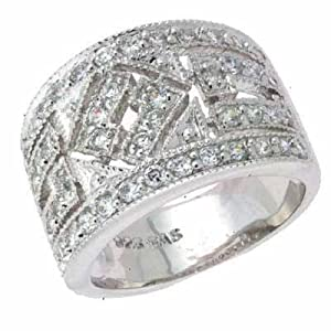 Sterling Silver Filigree Simulated Diamond CZ Antique Ring