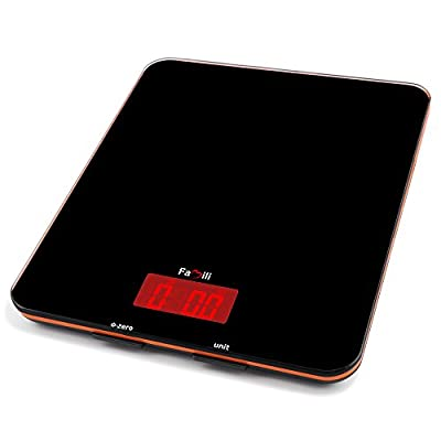 Famili Fm201bob Digital Kitchen Food Scale 11lbs/5kg, 0.1oz, Electronic Kitchen Weight Scale, Black