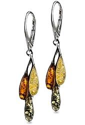 Sterling Silver Multicolor Amber Dreams Leverback Drop Earrings