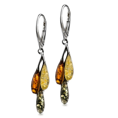 Sterling Silver Multicolor Amber Dreams Leverback Drop Earrings