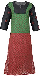 ALMAS Lucknow Chikan Women's Cotton Regular Fit Kurti (Green and Black and Red)