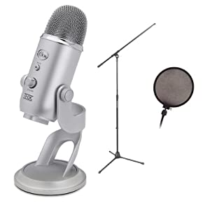 Blue Microphones Yeti USB Condenser Plug and Play Microphone with On Stage Boom Microphone Stand AND Pop Filter