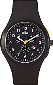 Braun Men's Quartz Watch with Black Dial Chronograph Display and Black Silicone Strap BN0115BKBKBKG
