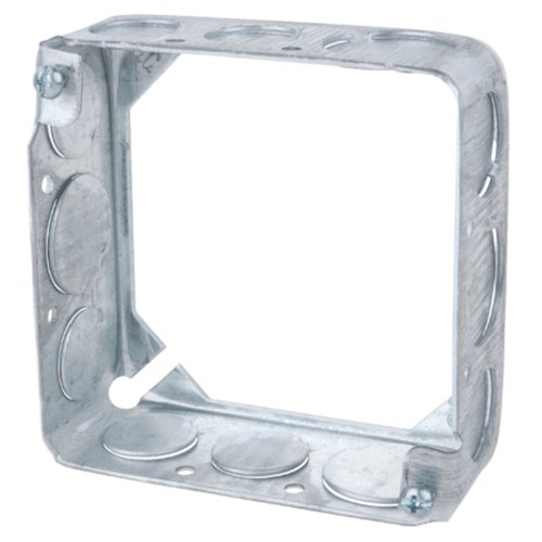 Steel City X1-1/2 3/4 Pre-Galvanized Steel Square Thru Wall Box With Extension Ring And 1/2-Inch And 3/4-Inch Knockouts