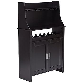 Kings Brand Furniture Wood Wine Rack Buffet & Storage Cabinet, Black