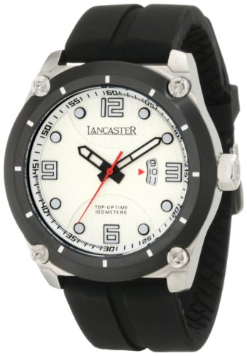 Lancaster Men'S Ola0480Bn Trendy Light Silver Textured Dial Black Silicone Watch