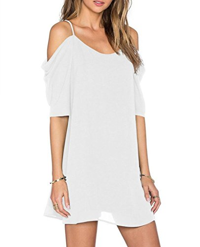 Womens Chiffon Cut Out Cold Shoulder Spaghetti Strap Mini Dress Top, White, Large