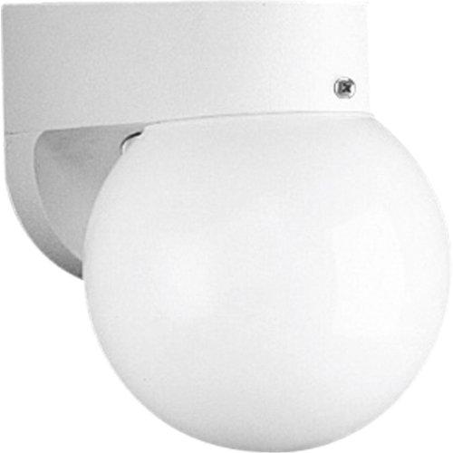 Progress Lighting P5813-30 Polycarbonate Wall Bracket with White 6-Inch Acrylic Globe, White