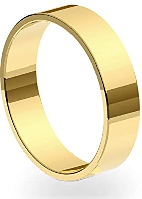 New 9ct 375 Yellow Gold 5mm Flat Shape Wedding Ring Band Solid and UK Hallmarked