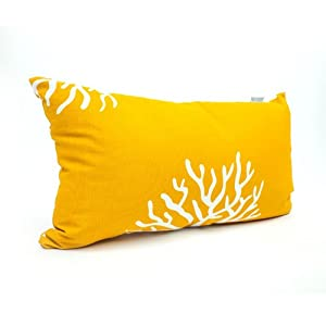 Majestic Home Goods Yellow Coral Pillow, Small