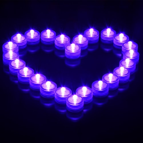 Led-Cube® Led Submersible Waterproof Wedding Floral Decoration Party Tea Light,Purple (24)