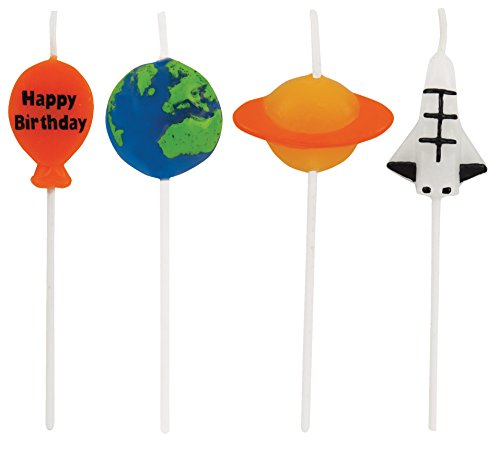 Creative Converting 4 Count Molded Pick Sets Birthday Cake Candles, Space, Multicolor