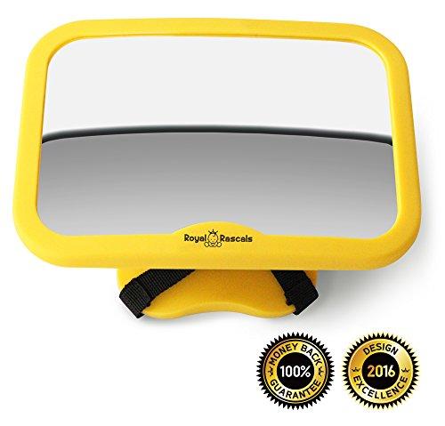 ROYAL RASCALS | Espejo para vigilar al bebé en el coche | El espejo retrovisor nº1 MÁS SEGURO para los asientos de niños orientados hacia atrás | Se adapta a cualquier resposacabezas ajustable | Función de inclinación y giro | 100% inastillable | PRODUCTO DE SEGURIDAD PREMIUM | Señal de Baby on Board GRATIS