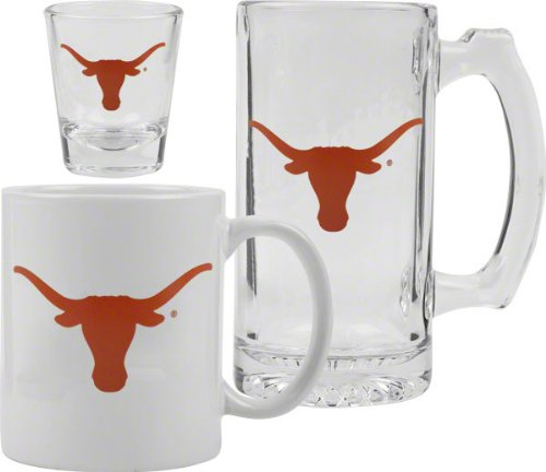 Texas Longhorns Glassware Set: 3D Logo Tankard,
