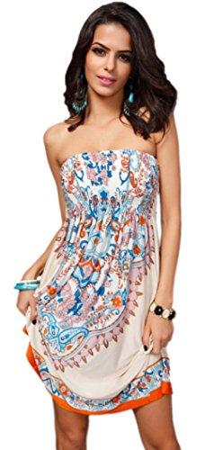 Honeystore Women's Fashion Spring Summer Flower Print Resort Beach Sundress Khaki M