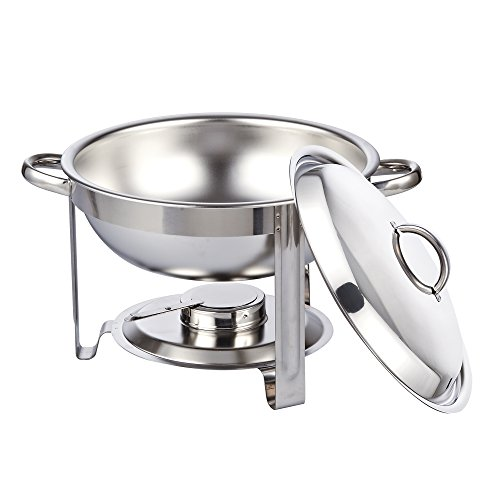Cook N Home Round Chafing Dish Chafer with Lid 5-QT, 5 quart, Stainless Steel