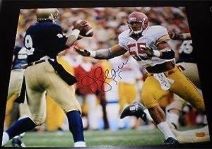 Junior Seau Signed Photo - USC TROJANS 16x20 VS NOTRE DAME - Autographed NFL Photos by Sports+Memorabilia