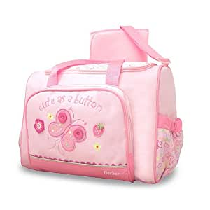 gerber large buttons diaper bag pink diaper tote bags baby. Black Bedroom Furniture Sets. Home Design Ideas