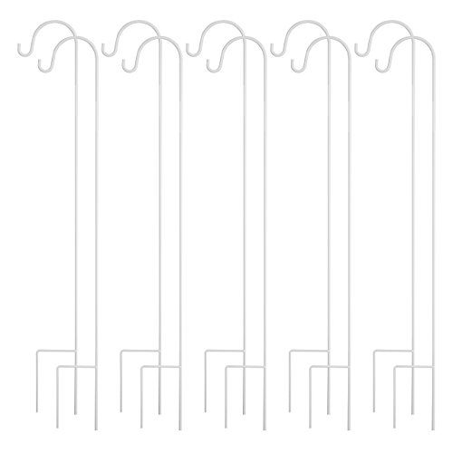 GrayBunny GB-6823 Shepherd Hook, 35 Inch, White, 10-Pack, Solid Single Piece Steel, For Hanging Mason Jars, Plant Hangers, Flower Basket, Christmas Lights, Lanterns, Garden Stakes, Wedding Decor