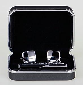 Lodestar Galaxy boutons de manchette classiques et pince à cravate élégante, ensemble en boîte-cadeau: Square with Two-Sided Windshields, Mod. DE (ACK-10)
