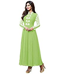 Fashion Fire Women's Pista Embroidered Georgette Unstitched Dress Material