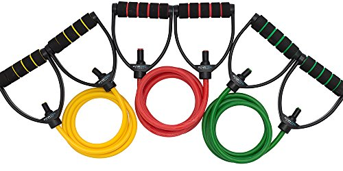 DynaPro Direct Exercise Resistance Bands - Gym Quality Fitness Bands - Perfect for any Home Fitness Training Program - Workout Abs, Arms, Legs, & Back! (Resistance Band Set of 3)