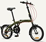 "TOKYO Citizen Bike 16"" 6-speed Folding Bike with Ultra-Portable Frame (Olive Green)"