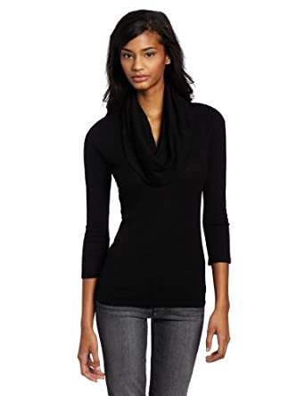 Michael Stars Women's Slub 3/4 Sleeve Cowl Neck Tee, Black, One Size