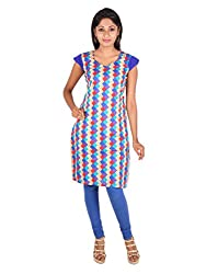 Blue and Red Geometric printed Cotton Kurta