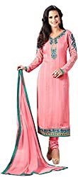 Shenoa Women's Faux Georgette Unstitched Dress Material(9501, Pink)