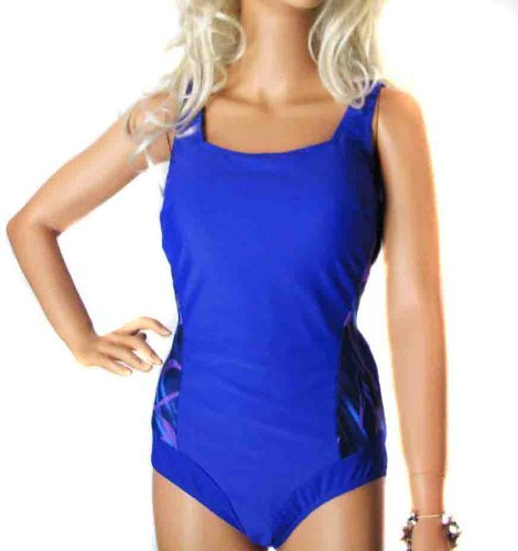 Ladies Blue & Purple Tummy Control Swimsuit Swimming Costume Bathing Suit for Women - Plus sizes