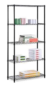 Honey-Can-Do SHF-01442 5-Tier Shelving Holds 200-Pounds per Shelf, 72-Inch, Black
