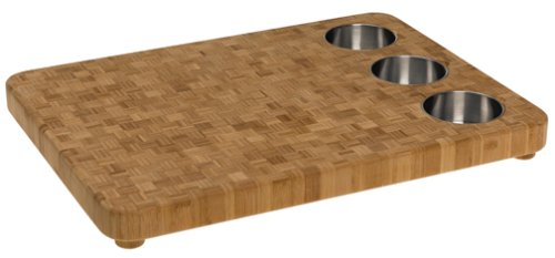 Totally Bamboo 3-Bowl Butcher Block Prep Board, 16.5