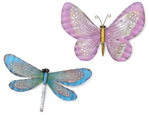 Grasslands Road Wall Plaque, 10-Inch, Gardenfly, Butterfly And Dragonfly, 4-Pack