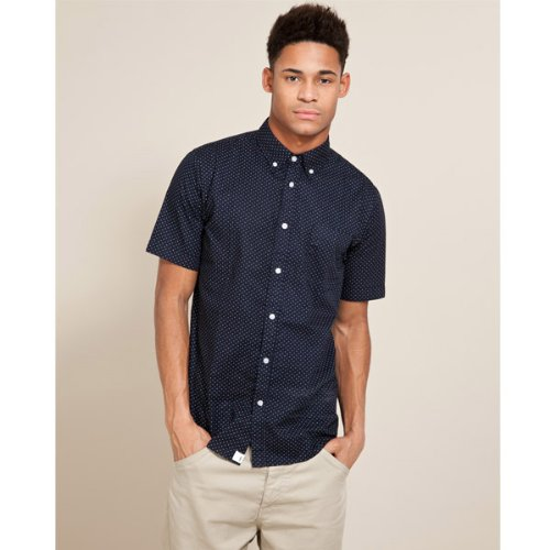 Fabric Polka Dot Shirt - Dark blue - Mens