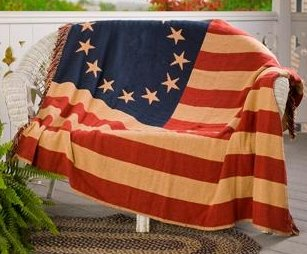 """Old Glory 50"""" X 60"""" Woven Patriotic American Flag Throw Quilt front-1007077"""