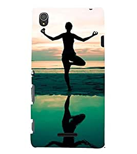 silhoutte of a girl meditating at seaside 3D Hard Polycarbonate Designer Back Case Cover for Sony Xperia T3