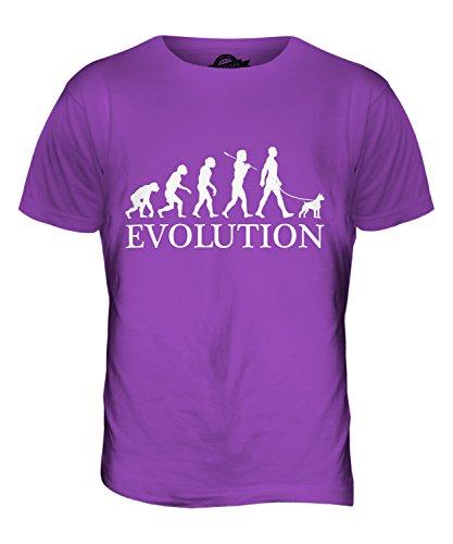 CandyMix Boston Terrier Evoluzione Umana Unisex Bambino Ragazzi/Ragazze T-Shirt, Taglia 10 Anni, Colore Viola