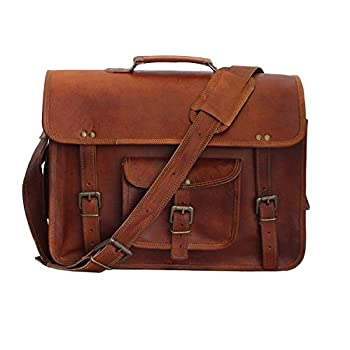 "Vintage Leather Laptop Bag 15"" Messenger Handmade Briefcase Crossbody Shoulder Bag"