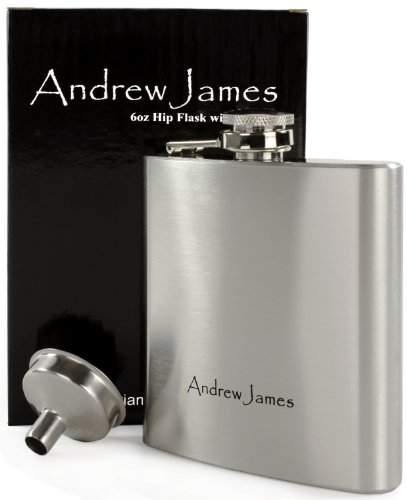 Andrew James Designer 6oz Hip Flask with Funnel - High Quality Brushed Stainless Steel Grade 201