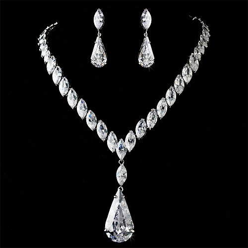CZ Sensation Necklace &#038; Earring Set, Bridal Jewelry 1139